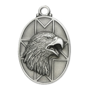 focal, pewter (zinc-based alloy), 43x33mm oval with bald eagle. sold individually.