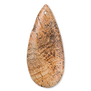 focal, picture jasper (natural), 46x20mm flat teardrop, b grade, mohs hardness 6-1/2 to 7. sold individually.