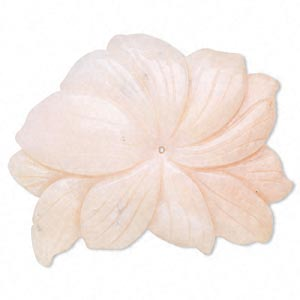 focal, pink opal (natural), 3x2 to 4-1/2 x 3-1/4 inch carved flower, mohs hardness 5 to 6-1/2. individually.