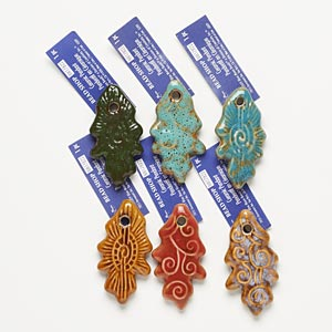 focal, porcelain, assorted colors, 53x28mm textured leaf. sold per pkg of 6.