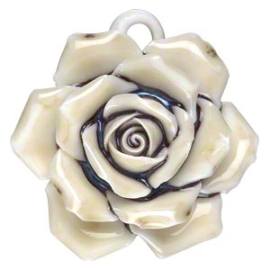 focal, porcelain, light yellow / dark blue / opaque white, 38x38mm-43x43mm single-sided rose with partially hidden loop. sold individually.