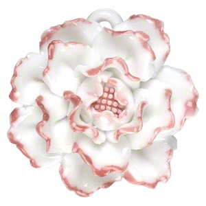 focal, porcelain, pink and opaque white, 41x40mm-45x45mm single-sided carnation with partially hidden loop. sold individually.