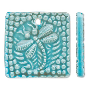focal, porcelain, turquoise blue and brown, 40x40mm double-sided top-drilled textured flat square with dragonfly design. sold individually.