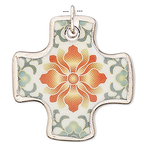 focal, porcelain with silver-plated copper and steel, orange / yellow / green, 39x39mm single-sided flat cross with flower decal. sold individually.