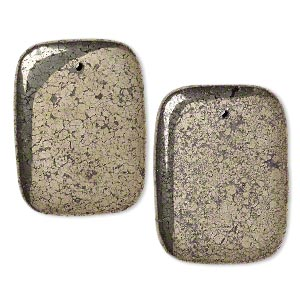 focal, pyrite (stabilized), 40x30mm rectangle, b grade, mohs hardness 6 to 6-1/2. sold per pkg of 2.