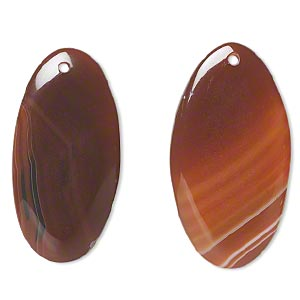 focal, red agate (dyed / heated), 50x27mm top-drilled flat oval, b- grade, mohs hardness 6-1/2 to 7. sold per pkg of 2.