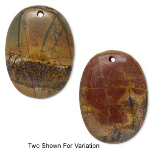 focal, red creek jasper (stabilized), 47x35mm top-drilled oval with flat back, b grade, mohs hardness 6-1/2 to 7. sold individually.