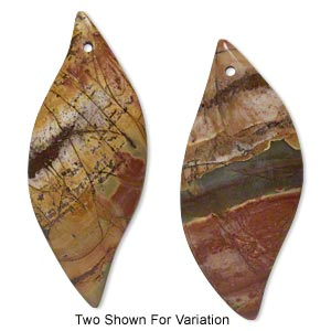 focal, red creek jasper (stabilized), 58x24mm top-drilled marquise with flat back, b grade, mohs hardness 6-1/2 to 7. sold individually.