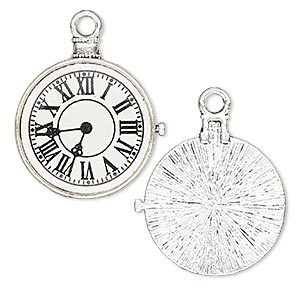 focal, resin and antique silver-plated pewter (zinc-based alloy), black and white, 33x31mm single-sided pocket watch. sold per pkg of 2.