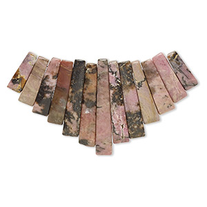focal, rhodonite (natural), 10-29mm graduated mini-fan, c grade, mohs hardness 5-1/2 to 6-1/2. sold per 13-piece set.