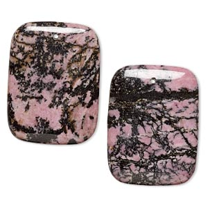 focal, rhodonite (natural), 40x30mm flat rectangle, b grade, mohs hardness 5-1/2 to 6-1/2. sold per pkg of 2.