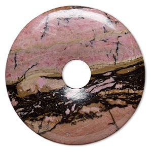 focal, rhodonite (natural), 50mm round donut, b grade, mohs hardness 5-1/2 to 6-1/2. sold individually.