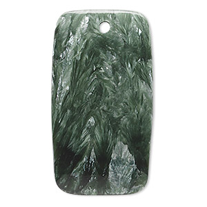 focal, seraphinite (natural), 40x22mm rectangle with flat back, b grade, mohs hardness 2 to 2-1/2. sold individually.