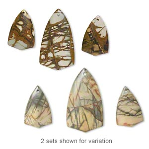 focal set, spiderweb jasper (natural), one 50x27mm and two 33x21mm double-sided top-drilled shield, b grade, mohs hardness 6-1/2 to 7. sold per set of 3.