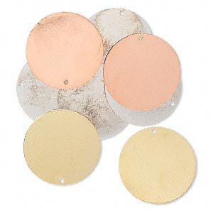 focal, silver- / gold- / copper-finished brass, 30mm double-sided flat round. sold per pkg of 8.