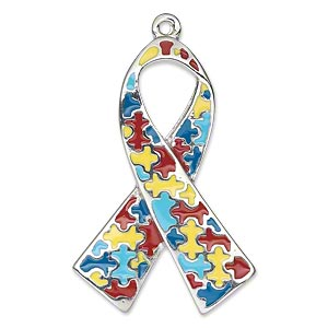 focal, silver-plated pewter (zinc-based alloy) and enamel, multicolored, 37x25mm single-sided awareness ribbon with puzzle pieces. sold individually.