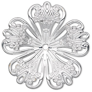 focal, silver-plated steel, 42x42mm single-sided concave fancy flower with 2.5mm hole. sold per pkg of 6.