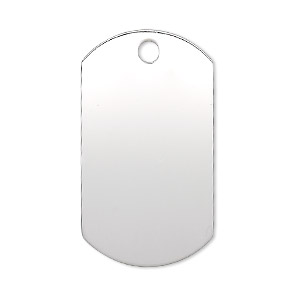 focal, sterling silver, 35x19.5mm single-sided smooth flat dog tag with top hole, 23-25 gauge. sold individually.