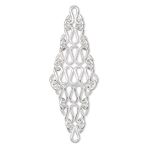 focal, sterling silver, 50x15mm diamond with squiggly chain design. sold per pkg of 2.