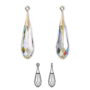 focal, swarovski crystals and gold-plated brass, crystal ab, 31.5mm faceted pure drop pendant (6532). sold per pkg of 20.