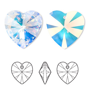 focal, swarovski crystals, crystal ab, 40x40mm xilion heart pendant (6228). sold per pkg of 6.