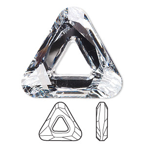 focal, swarovski crystals, crystal cal v si, 30x30x30mm faceted cosmic triangle fancy stone (4737). sold individually.