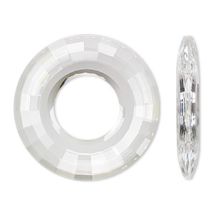 focal, swarovski crystals, crystal clear, 38mm faceted round disk pendant (6039). sold per pkg of 9.