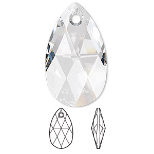 focal, swarovski crystals, crystal clear, 38x22mm faceted pear pendant (6106). sold per pkg of 9.