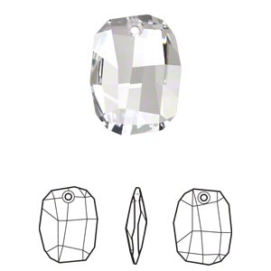 focal, swarovski crystals, crystal clear, 38x28mm faceted graphic pendant (6685). sold per pkg of 6.