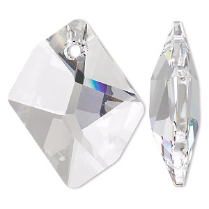 focal, swarovski crystals, crystal clear, 40x32mm faceted cosmic pendant (6680). sold per pkg of 12.