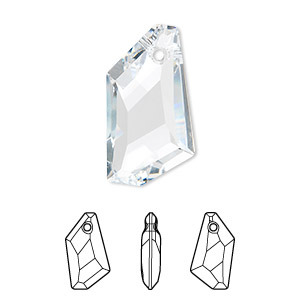 focal, swarovski crystals, crystal clear, 50x30mm faceted de-art pendant (6670). sold per pkg of 6.
