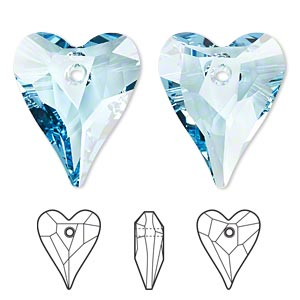 focal, swarovski crystals, crystal passions, aquamarine, 37x30mm faceted wild heart pendant (6240). sold individually.