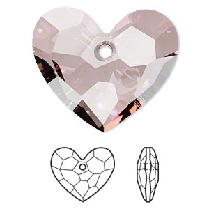 focal, swarovski crystals, crystal passions, crystal antique pink, 36x30mm faceted truly in love heart pendant (6264). sold individually.