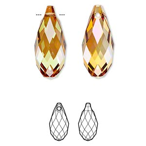 focal, swarovski crystals, crystal passions, crystal copper, 50x21.5mm faceted briolette pendant (6010). sold individually.