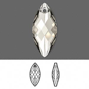focal, swarovski crystals, crystal passions, crystal silver shade, 30x14mm faceted navette pendant (6110). sold individually.