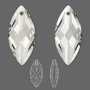 focal, swarovski crystals, crystal passions, crystal silver shade, 40x18mm faceted navette pendant (6110). sold individually.