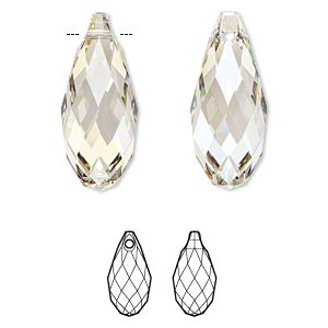 focal, swarovski crystals, crystal passions, crystal silver shade, 50x21.5mm faceted briolette pendant (6010). sold individually.