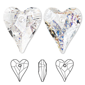 focal, swarovski crystals, crystal white patina, 37x30mm faceted wild heart pendant (6240). sold per pkg of 6.
