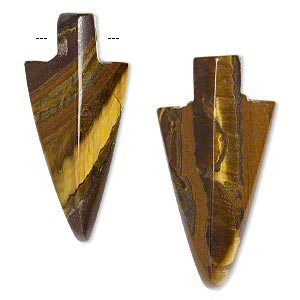 focal, tiger iron (natural), 38x17mm-42x19mm arrowhead, b grade, mohs hardness 7. sold per pkg of 2.