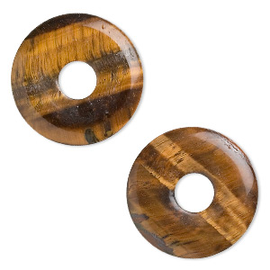 focal, tigereye (natural), 30mm round donut, b- grade, mohs hardness 7. sold per pkg of 2.