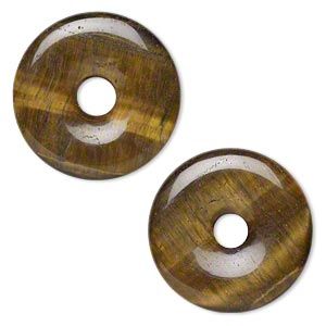 focal, tigereye (natural), 40mm round donut, b- grade, mohs hardness 7. sold per pkg of 2.