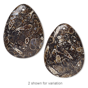 focal, turritella agate (stabilized), 40x30mm puffed teardrop, b grade, mohs hardness 6-1/2 to 7. sold individually.