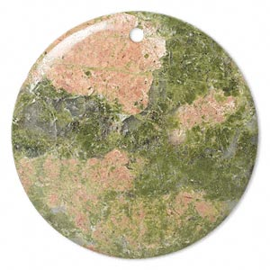 focal, unakite (natural), 50mm flat round, b grade, mohs hardness 6 to 7. sold individually.