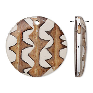 focal, wood / buri palm tree thorn / resin (natural / assembled), clear, 30mm single-sided flat round. sold individually.