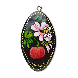focal, wood (coated) and silver-plated brass, black and multicolored, 34x20mm single-sided oval with hand-painted assorted design. sold individually.