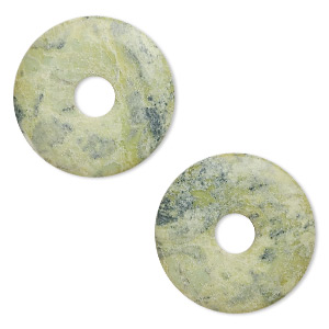 focal, yellow turquoise (natural), 40mm round donut, b grade, mohs hardness 2-1/2 to 6. sold per pkg of 2.