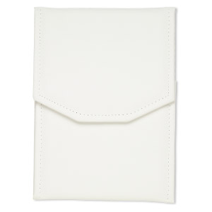 folder display, necklace / pearl, leatherette, white, 8x6 inches. sold individually.