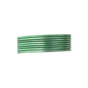 french wire, enamel-coated brass, green, 0.7mm tube. sold per pkg of (2) 19-1/2 inch strands.