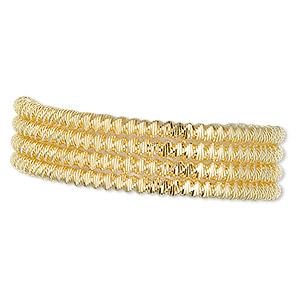 french wire, gold-plated copper, 2mm fancy twist. sold per approximately 13-1/2 to 15 inch strand.