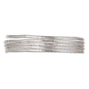 french wire, silver-plated copper, 1mm fancy tube. sold per approximately 13-1/2 to 15 inch strand.
